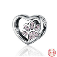925 Sterling Silver Heart European Beads Pink Dot Footprint Charms Fit Jewelry