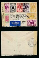 CAMEROON CAMEROUN FRANCE LIBRE MIXED MULTI FRANKING MILITARY CENSOR + REDIRECTED