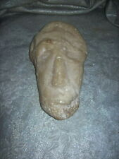 ARTSY VINTAGE / ANTIQUE PRIMITIVE ABSTRACT CARVED MARBLE STONE HEAD with FACE