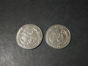 2 x NUTELLA 'Asterix the Gaul' large tokens with Idefix (Dogmatix)