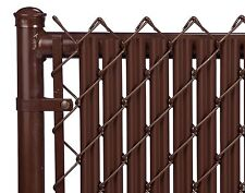 Chain Link Brown Single Wall Ridged™ Privacy Slat for 4ft High Fence Bottom Lock