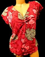 Jamaica bay red multi color leaf print women's plus size stretch top 1X
