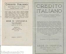 CREDITO ITALIANO-SEDE DI VENEZIA -2 VOLANTINI PUBBLICITARI-