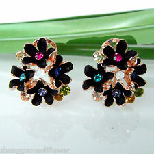 Black Enamel Flower 18K GP Colorful Crystal Buckle Earrings BH1529