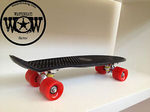 """Banana board mini Cruiser style Skateboard """"This is the Best Price"""" Black / Red"""