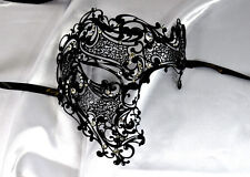 Men Phantom Skull Laser Cut Venetian Masquerade Metal Filigree Mask - Black