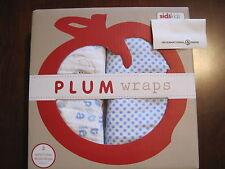 New NWT Plum Wraps Boy White Blue Polka Dot Bird 2 Pack Muslin Swaddle Blankets