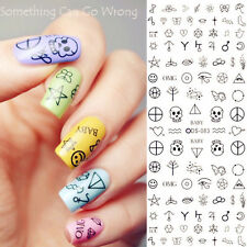 Nail Art Water Decals Transfer Stickers Skull Peace Symbol Music Design
