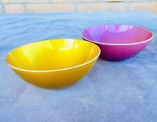 Vintage Emalox Norway Mid Century Modern Colorful Enamel Bowls 5.75""