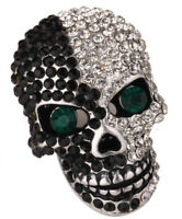 Skull brooch pin women biker gothic bling jewelry gifts women her silver BD07
