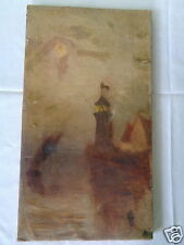 ANTIQUE MYSTERY ARTIST LIGHTHOUSE AND HOUSE ON CLIFF BY OCEAN CANVAS PAINTING