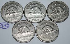 Canada 1955 1956 1957 1958 1959 5 Cents Elizabeth II Canadian Nickels Lot #940