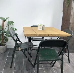 Rustic, industrial Style Scaffold Board Hairpin Leg Dining Table