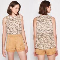NWT Joie Corrie Leopard Silk Top Size Medium