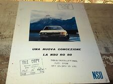 1968 1969 NSU RO 80  ITALIAN   Sales Brochure RARE