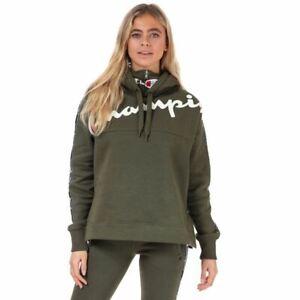 Women's Champion Logo Tape High Neck Script Logo Hoodie Sweatshirt in Green