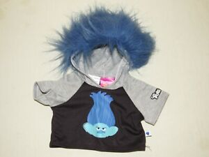 Build-A-Bear TROLLS BRANCH HOODIE Shirt Grey Clothes Outfit Blue Hair Grumpy