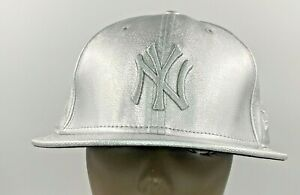 NY Yankees New Era 59Fifty Silver Leather Hat Fitted Cap Size 7 5/8