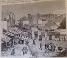 Marocco, Street a Tangeri 1882 antica stampa, ORIGINALE