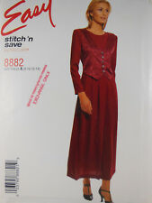 Stitch 'N Save 8882 Misses' Dress with Mock Vest 8 10 12 14  Sewing Pattern