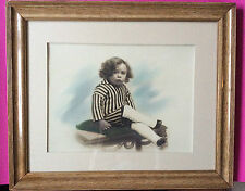 Antique photo pastel portait of a boywith long hair, late 19th century