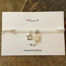Star Charm White Cotton cord bracelet,Friendship. GIFT card.Wish Personalisation