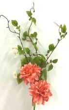"""Dahlia Garden Spray Stem~Blossom Flowers~Coral,White,Green~22""""~Silk/Artificial"""
