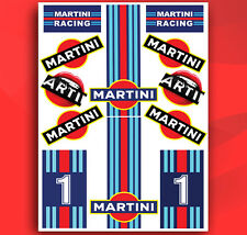 SET 12 Vinyl Stickers Car Laptop Moto Bike Helmet Auto MARTINI Race Lancia D 33