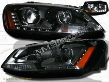 11-13 Volkswagen Jetta MK6 Projector w/ LED Strip Headlights 4DR Black Amber