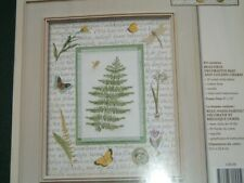 Vtg 2002 Janlyn Woodland Fern Leaf Cross Stitch Kit Dragon Fly Gold Charm #LK7
