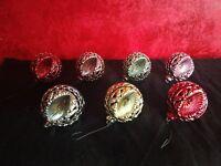 7 VTG Xmas Ornament Plastic Round Ball Shape 1960's MCM Indent Bradford Filigree