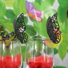 50x Marque Place Papillon Mariage Carte Porte Nom Déco Verre Table Noir #4