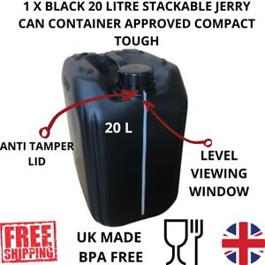 1 x 20 litre  new plastic bottle jerry can water container fully approved black