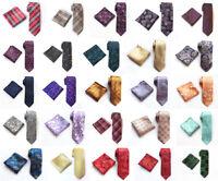 Fashion Men's Wedding Ties Pocket Square Set JACQUARD WOVEN Silk Paisley Necktie