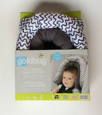 New! On The Goldbug 2-In-1 Infant Head Support For Car Seat, Stroller Grey/Wht