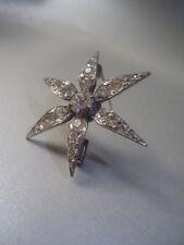 Antico Francese brillante Diamond Pasta d'Argento Fiore Spilla di Stella 3.5cm mozzafiato