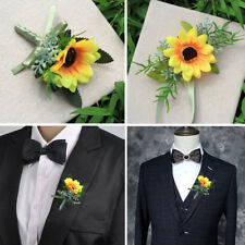 Silk Wedding Flowers Groom Sunflower Pin Corsage Best man's Brooch Collar Flower