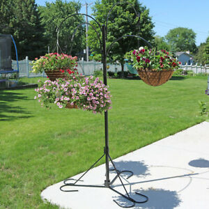 """Sunnydaze 4-Arm Hanging Flower Plant Basket Stand with Adjustable Arms 84"""" Tall"""