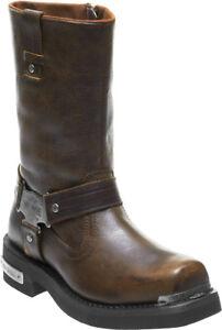 HARLEY-DAVIDSON FOOTWEAR Men's Charlesfort Brown Leather Motorcycle Boots D96150
