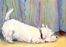 """West Highland Terrier Aceo Westie Print Painting """"I found it!"""" Dog Art Randall"""