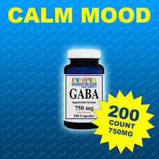 GABA 750mg 200Capsule Sleep Rest Mental Focus Calming Relaxing  USA-GMP Facility