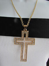 WESTER WOMEN GOLD METAL FASHION NECKLACE BIG CROSS PENDANT SILVER BLING BEADS