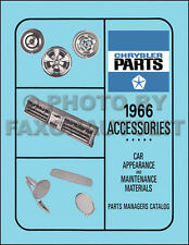 1966 Plymouth Accessories Parts Book Barracuda Belvedere Fury Satellite Valiant