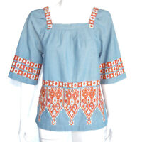 Calypso St Barth Embroidered Sky Blue Stylish Chambray Top, Size XS Shirt /1329