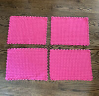Set Of 4 Hot Pink Cotton Weaved Placemats