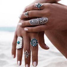 9PCS/Set Boho Style Women Retro Geometry Finger Rings Silver Punk Vintage Ring