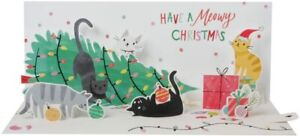 Trimming Trouble Cats Panoramics Pop-Up LIGHT-UP Christmas Card A323LIT