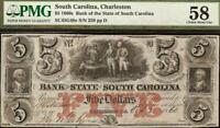 1860 $5 DOLLAR BILL SOUTH CAROLINA BANK NOTE LARGE CURRENCY PAPER MONEY PMG 58