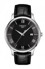 New Tissot Tradition Black Dial Leather Band Men's Watch T063.610.16.058.00