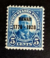 US Stamps, Scott #648 5c VF/XF M/NH 1928. Sound and Post Office fresh.